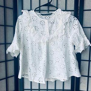 Zara white eyelet short sleeve blouse sz M